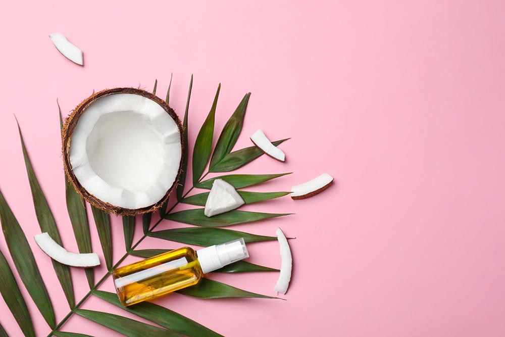 Óleo e água de coco